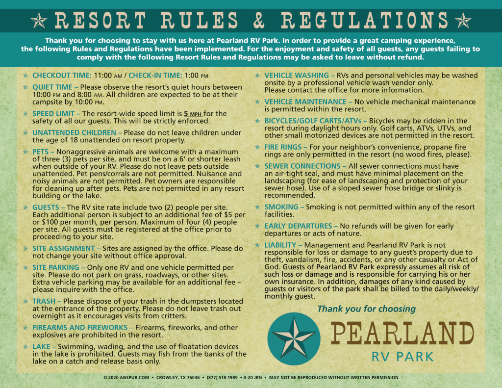Resort Guidelines, Pearland RV